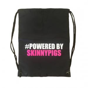 powered by skinnypigs drawstring bag